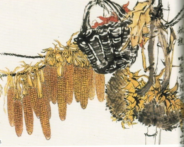 Guō Wèiqú 郭味蕖 (1908 – 1971), Corn on Cobs, a Basket of Water Caltrop and Dried Sunflowers, ink and watercolour on paper