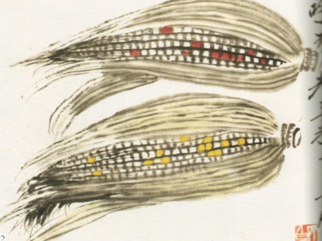 Qi Baishi 齊白石(1864 – 1957), Corn on Two Cobs, ink and watercolour on paper