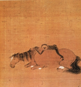 Zhào yōng (趙雍)(1290 – c1362), Yuan Dynasty (元朝), Gibbon and Horse (猴馬圖)