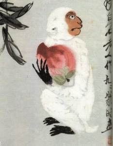 Qi Baishi (齊白石) (1864 – 1957) White Gibbon offering Peach (白猿獻壽圖)