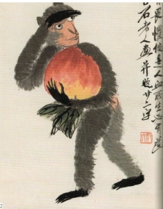 Qi Baishi (齊白石) (1864 – 1957) Monkey and the Peach (桃猴圖)