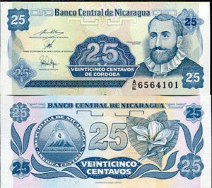NICARAGUA-25-CENTAVOS-1991-UNCIRCULATED-P170-BANKNOTE